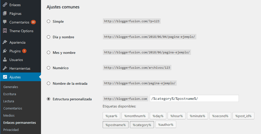 Enlaces Permaentes (Permalink) en WordPress